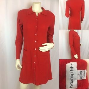 Vintage 100% Cashmere Cherry Red Sweater Dress
